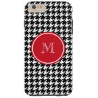 Black and White Houndstooth Red Monogram Tough iPhone 6 Plus Case
