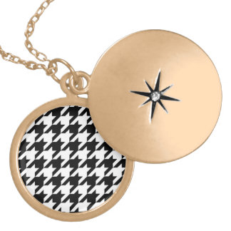Black and White Houndstooth Round Locket Necklace