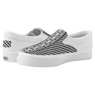 Black And White Houndstooth With Floral Lace Slip On Shoes