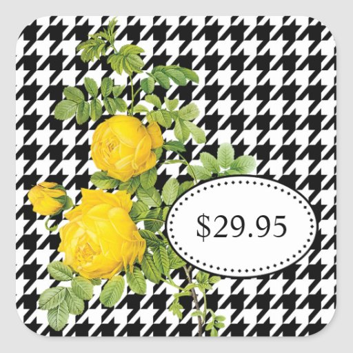 Black and White Houndstooth Yellow Rose Price Tags Sticker