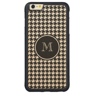 Black and White Houndstooth Your Monogram Carved Maple iPhone 6 Plus Bumper Case