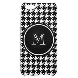 Black and White Houndstooth Your Monogram Cover For iPhone 5C