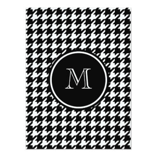 "Black and White Houndstooth Your Monogram 6.5"" X 8.75"" Invitation Card"