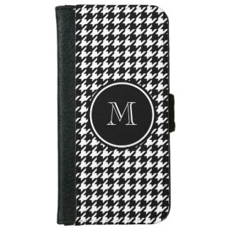 Black and White Houndstooth Your Monogram iPhone 6 Wallet Case