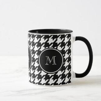 Black and White Houndstooth Your Monogram Mug