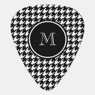Black and White Houndstooth Your Monogram Plectrum