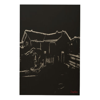 black and white  house drawing wood wall decor