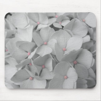 Black and White Hydrangea Blooms Mouse Mat