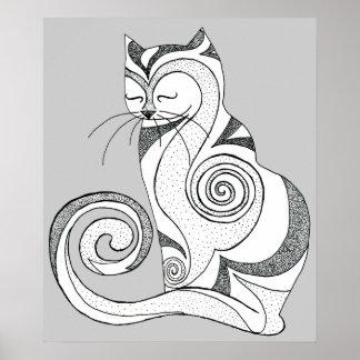 Black and White Hypnocat Print