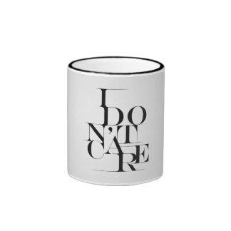 """Black and White """"I Don't Care"""" Typography Design Ringer Mug"""