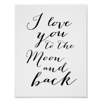 Black And White I love you Poster Print 8.5x11