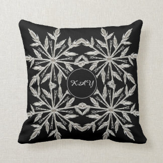 Black And White Ice Crystal Tree - Custom Monogram Cushion