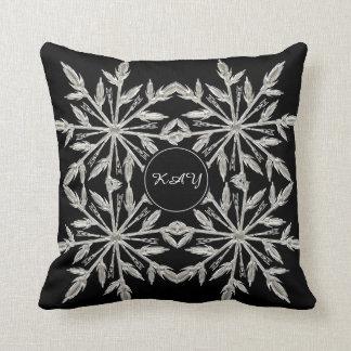 Black And White Ice Crystal Tree - Custom Monogram Throw Pillow
