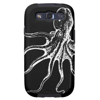Black and White Illustrated Octopus Sea Creature Samsung Galaxy SIII Cover