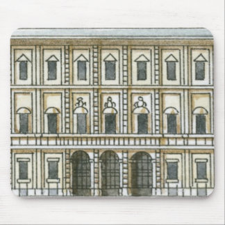 Black and white illustration of facade of 18th mouse pad