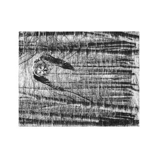 Black and white image of an owl stretched canvas print