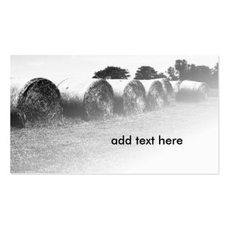 black and white image of large rolled hay bales pack of standard business cards