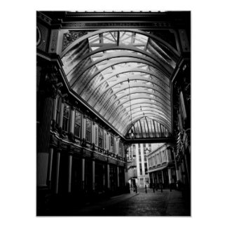 Black and white image of Leadenhall Market London Poster