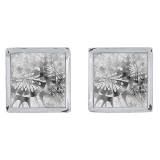 Black And White Industrial Abstract Silver Finish Cufflinks