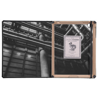 Black and White Industrial Pipes, Architecture iPad Folio Case