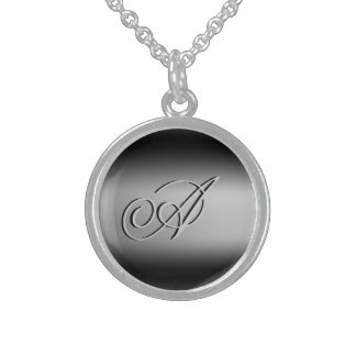 Black and White Initial Pendant