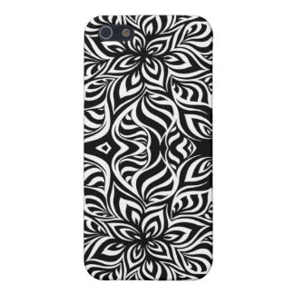 Black and White Ink Fractal Flowers Case For iPhone 5/5S