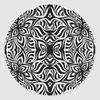 Black and White Ink Fractal Flowers Classic Round Sticker