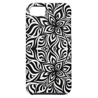 Black and White Ink Fractal Flowers iPhone 5 Case