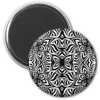 Black and White Ink Fractal Flowers Magnet