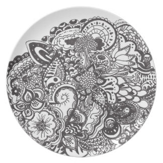 Black and white intricate ink drawing plate