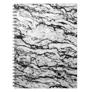 Black and White Intricate Marble Stone Pattern Notebooks