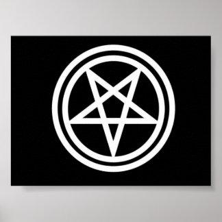 Black and white inverted pentagram poster, med. poster