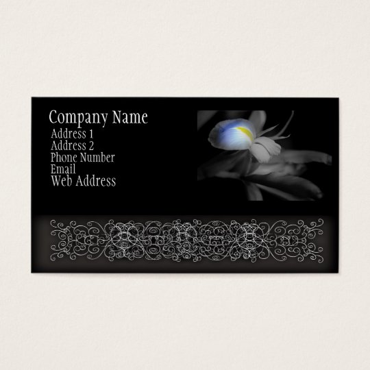 Black and White Iris Flower Photograph Business Card