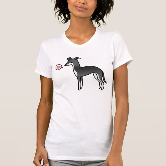 Black And White Italian Greyhound With A Heart T-Shirt