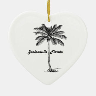 Black and White Jacksonville & Palm design Ceramic Heart Decoration