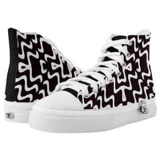Black and White Jagged Edge Pattern High Top Kicks Printed Shoes