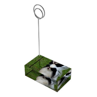 Black and White Japanese Chin Table Card Holder