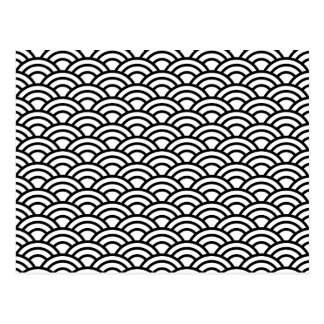 Black and White Japanese Geometric circles Postcard