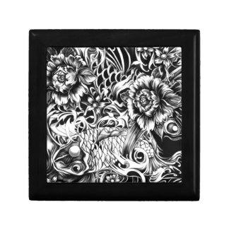 Black and white Japanese Koi tattoo art. Gift Box