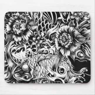 Black and white Japanese Koi tattoo art. Mouse Mat