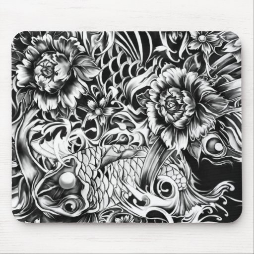 Black and white Japanese Koi tattoo art. Mouse Pad
