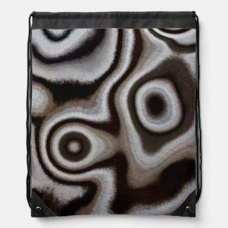 Black and white Jasper stone Drawstring Bag
