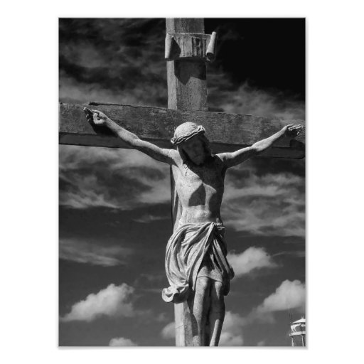Black and white Jesus on a cross Photo