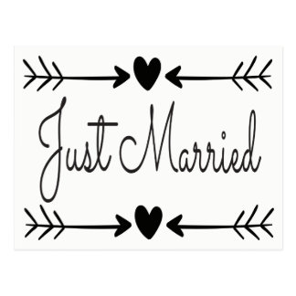 Black And White Just Married Heart Arrows Wedding Postcard