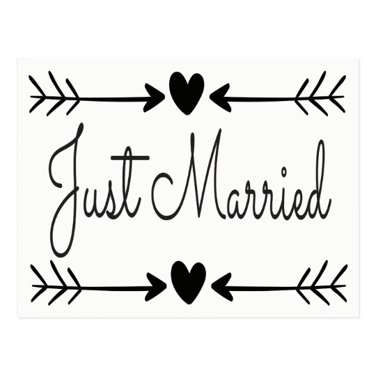 Black And White Just Married Heart Arrows Wedding