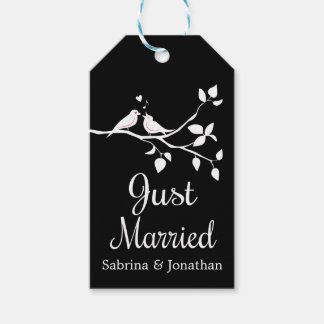 Black And White Just Married Lovebirds Wedding Gift Tags