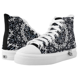 Black and white kaleidoscope fantasy high top Tenn Printed Shoes