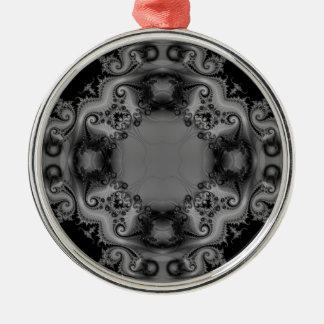 Black and White Kaleidoscope Fractal 9 Christmas Ornament