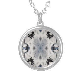 Black and white kaleidoscope graffiti silver plated necklace