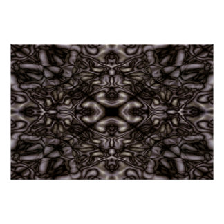 Black and white kaleidoscope pattern poster